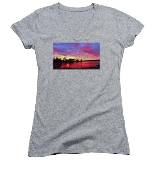 Sunrise Over Lake Murray Women's V-Neck