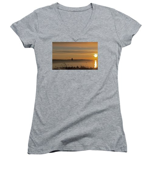 Sunrise Over New Bedford Women's V-Neck