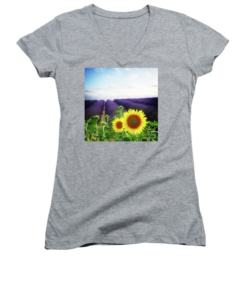 Sunrise Over Sunflower And Lavender Field Women's V-Neck T-Shirt (Junior Cut) by Anastasy Yarmolovich
