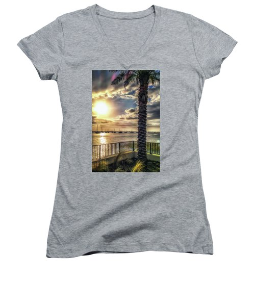 Sunrise Over The Matanzas Women's V-Neck (Athletic Fit)