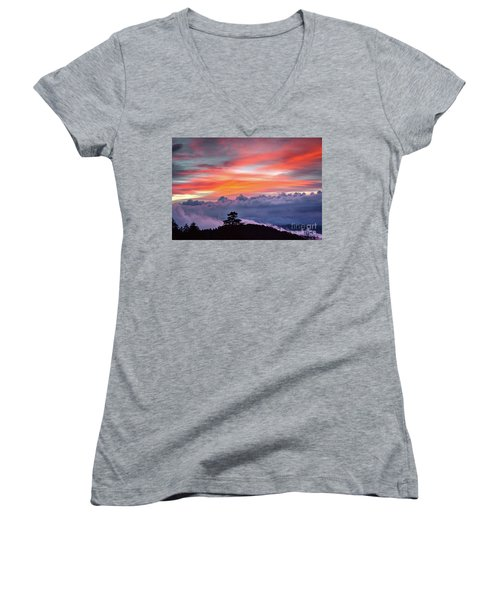 Women's V-Neck T-Shirt (Junior Cut) featuring the photograph Sunrise Over The Smoky's II by Douglas Stucky