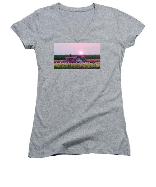 Sunrise Pink Greets John Deere Tractor Women's V-Neck T-Shirt (Junior Cut) by Susan Garren