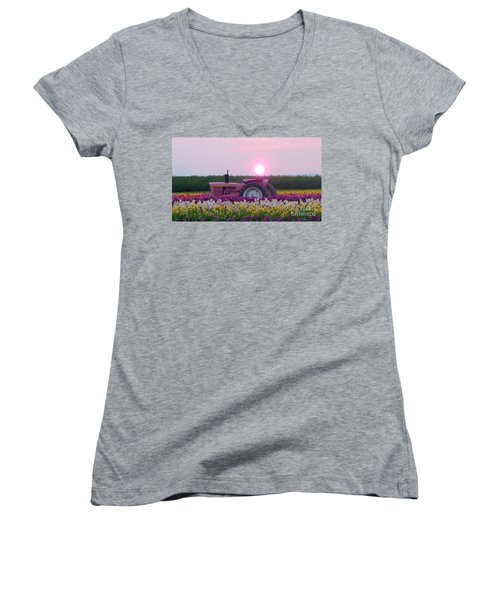 Sunrise Pink Greets John Deere Tractor Women's V-Neck T-Shirt