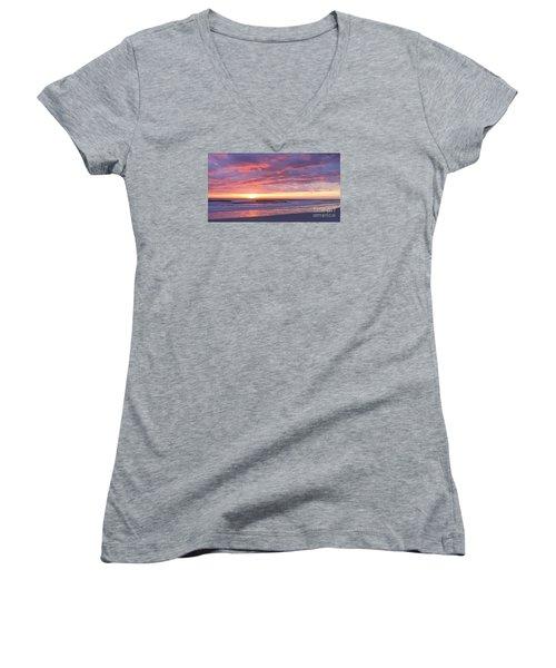 Sunrise Pinks Women's V-Neck T-Shirt (Junior Cut) by LeeAnn Kendall