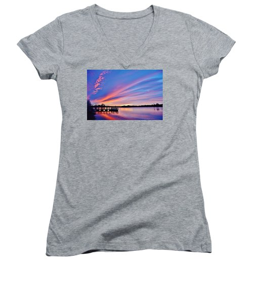 Sunrise Reflecting Women's V-Neck T-Shirt