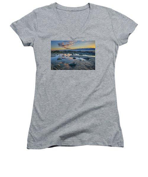 Women's V-Neck T-Shirt (Junior Cut) featuring the photograph Sunrise Reflections On Wells Beach by Rick Berk
