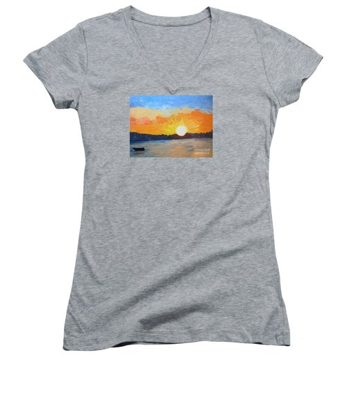 Sunrise At Pine Point Women's V-Neck (Athletic Fit)