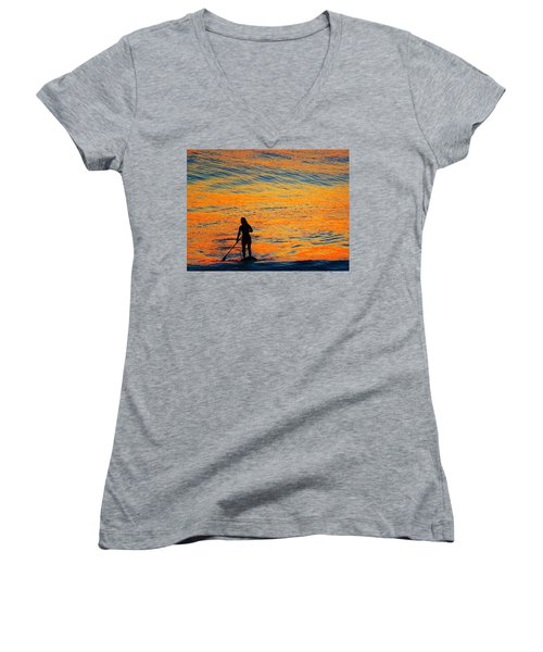 Sunrise Silhouette Women's V-Neck T-Shirt