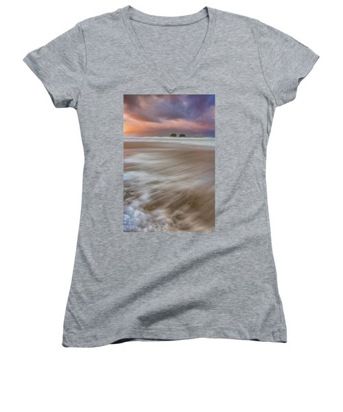 Women's V-Neck T-Shirt featuring the photograph Sunrise Storm At Twin Rocks by Darren White