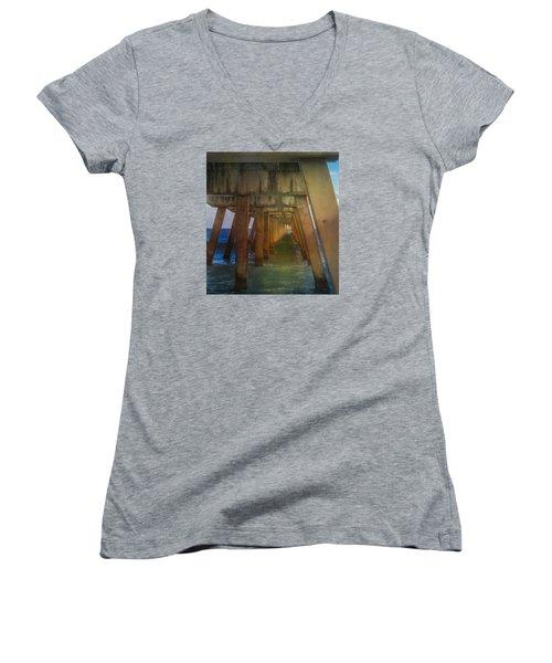 Sunrise Under The Pier Women's V-Neck T-Shirt (Junior Cut) by Arlene Carmel