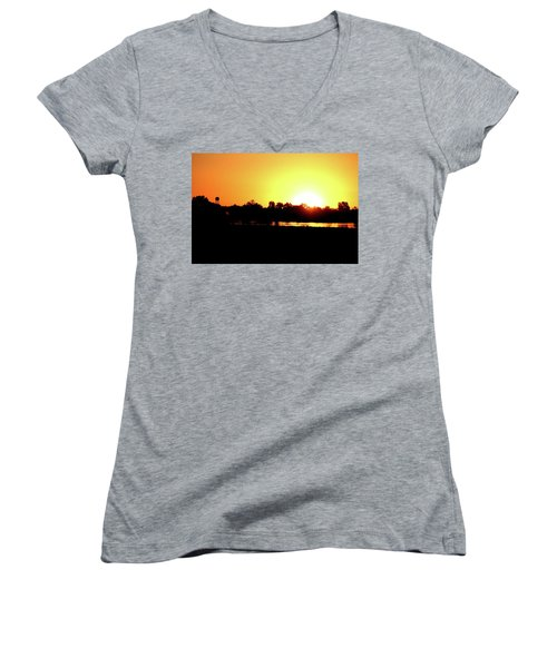 Sunrise Water Tower Women's V-Neck (Athletic Fit)