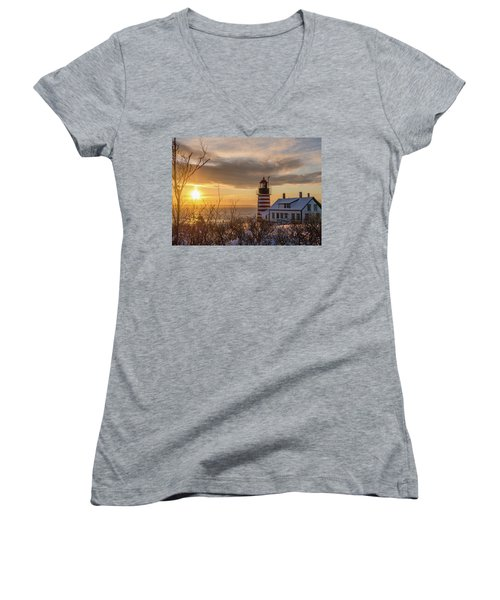 Sunrise West Quoddy Lighthouse Women's V-Neck T-Shirt (Junior Cut) by Trace Kittrell