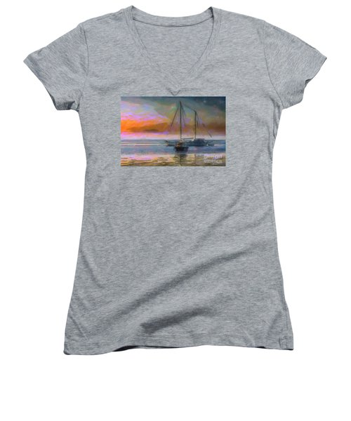 Sunrise With Boats Women's V-Neck (Athletic Fit)