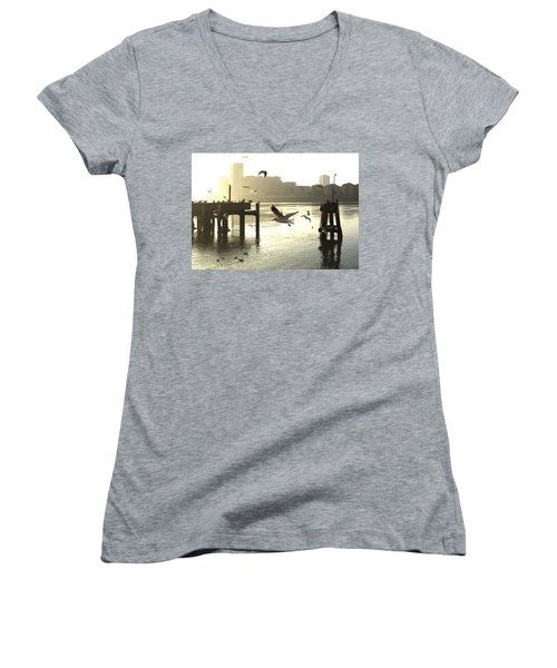 Sunrise With Seagulls Women's V-Neck (Athletic Fit)