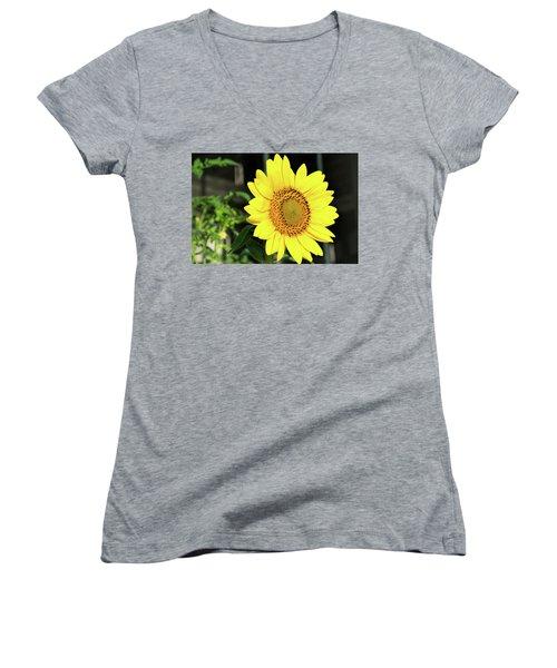 Sun's Up Women's V-Neck T-Shirt (Junior Cut) by Ed Waldrop