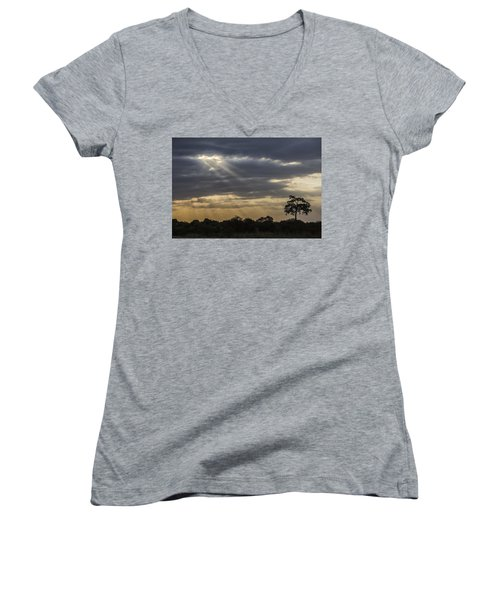 Women's V-Neck T-Shirt (Junior Cut) featuring the tapestry - textile Sunset Africa 2 by Kathy Adams Clark