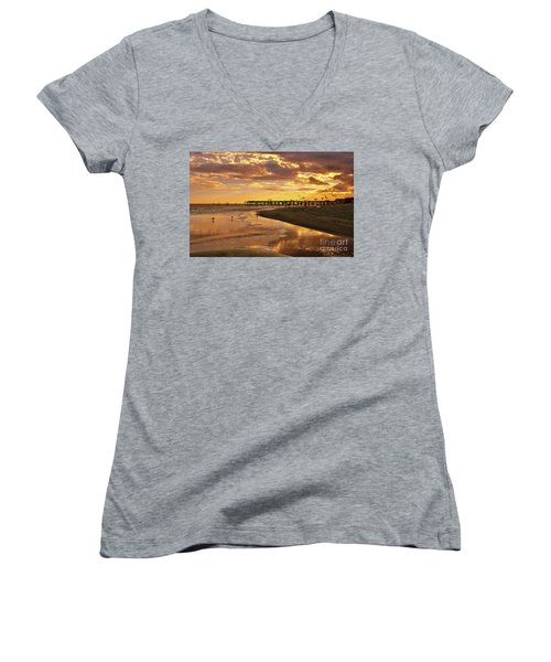Sunset And Gulls Women's V-Neck T-Shirt (Junior Cut) by Kathy Baccari