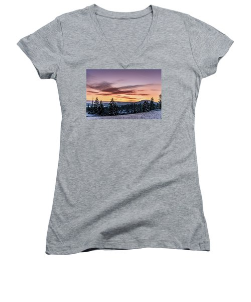Sunset And Mountains Women's V-Neck