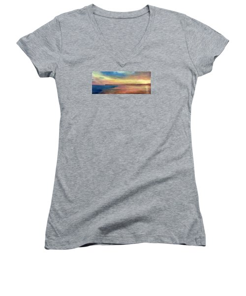 Sunset And Pier Women's V-Neck (Athletic Fit)