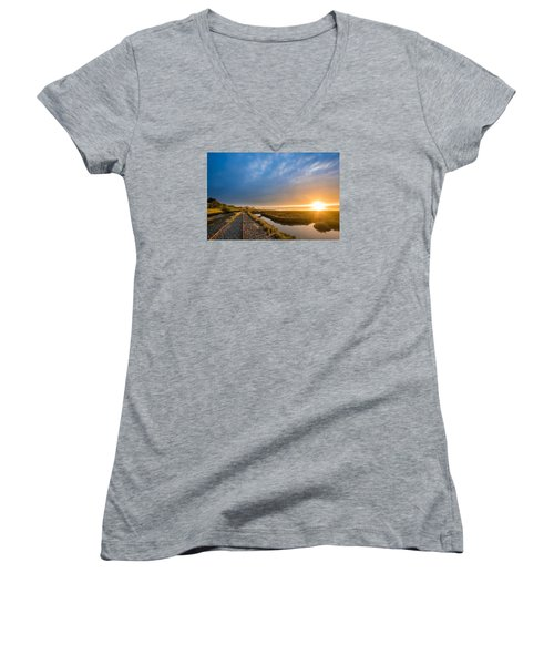 Sunset And Railroad Tracks Women's V-Neck T-Shirt (Junior Cut) by Greg Nyquist