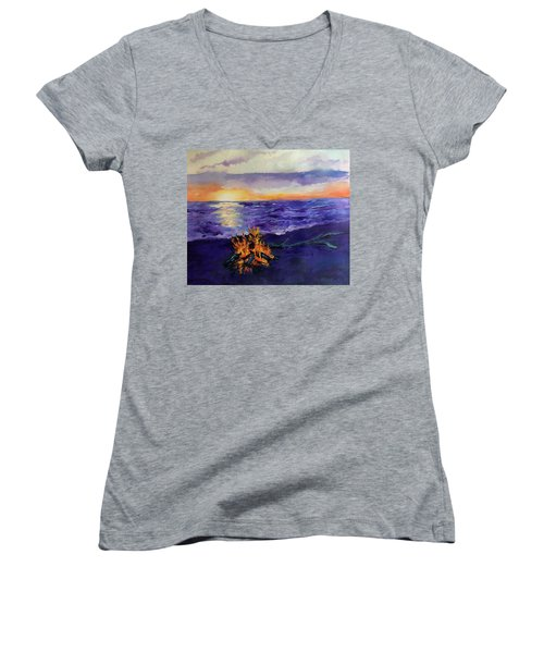 Sunset, Angola On The Lake Women's V-Neck (Athletic Fit)
