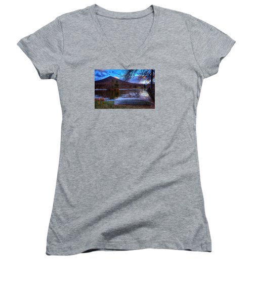 Sunset At Abbott Lake Women's V-Neck T-Shirt