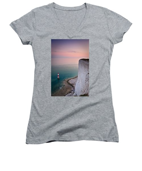 Sunset At Beachy Head Women's V-Neck (Athletic Fit)