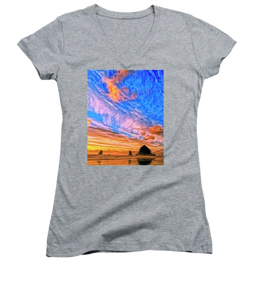 Sunset At Cannon Beach Women's V-Neck