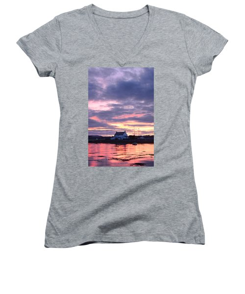 Sunset At Clachnaharry Women's V-Neck