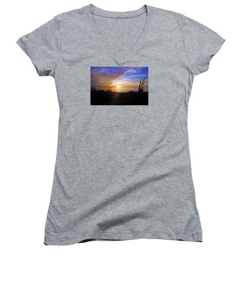 Sunset At Delnor Wiggins Pass State Park In Naples, Fl Women's V-Neck