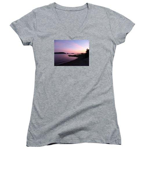 Sunset At Five Islands Women's V-Neck T-Shirt (Junior Cut) by Joel Deutsch