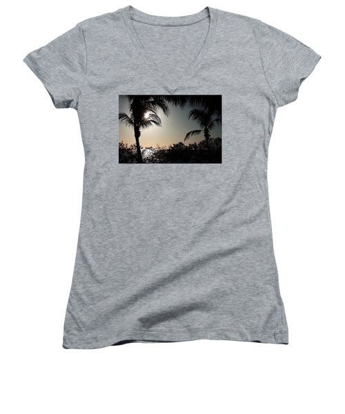Sunset At Flamingo 1 Women's V-Neck T-Shirt (Junior Cut) by Ellen O'Reilly