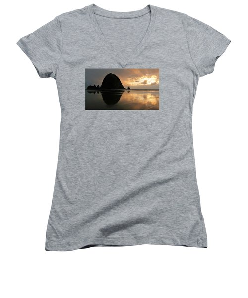Sunset At Haystack Rock Women's V-Neck (Athletic Fit)