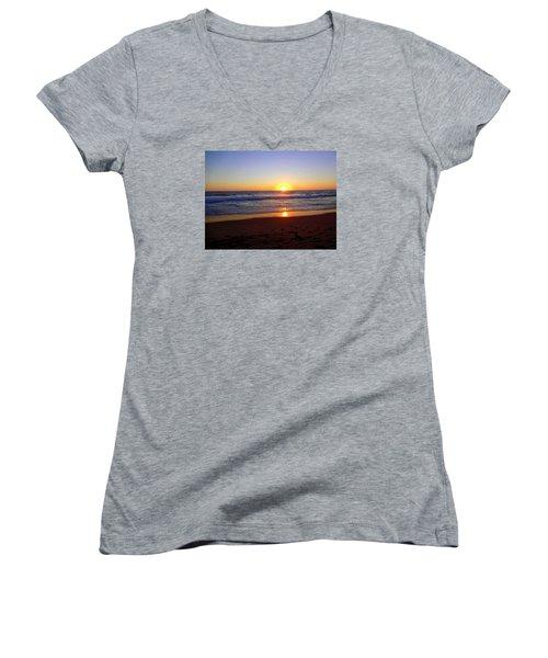 Sunset At Hermosa Women's V-Neck T-Shirt