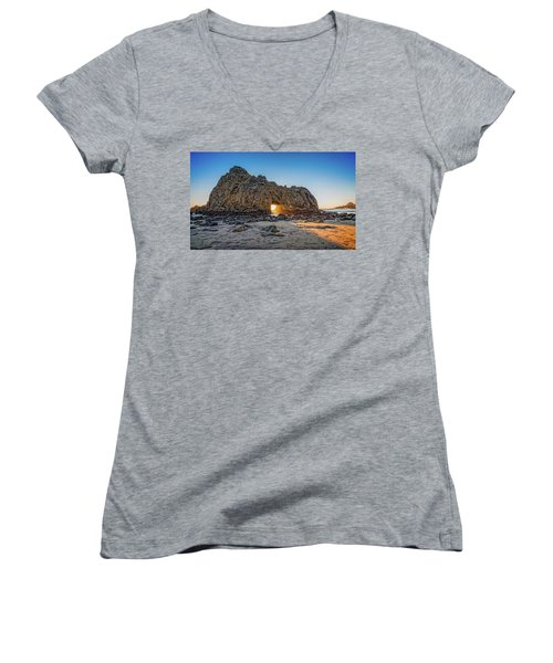 Sunset At Hole In The Rock Women's V-Neck T-Shirt (Junior Cut) by James Hammond