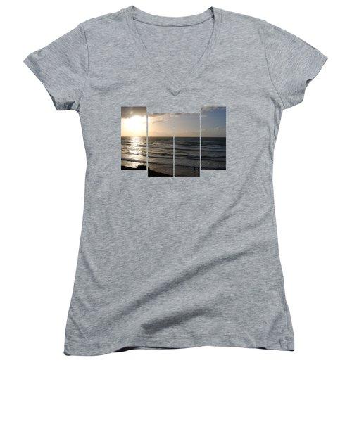 Sunset At Jaffa Beach T-shirt 2 Women's V-Neck T-Shirt (Junior Cut) by Isam Awad