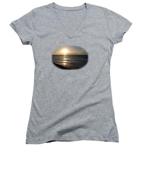 Sunset At Jaffa Beach T-shirt Women's V-Neck T-Shirt (Junior Cut) by Isam Awad
