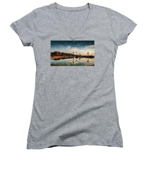 Sunset At Las Barancas Women's V-Neck T-Shirt (Junior Cut) by Martina Thompson