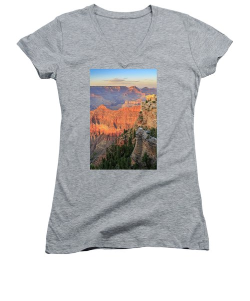 Women's V-Neck T-Shirt (Junior Cut) featuring the photograph Sunset At Mather Point by David Chandler