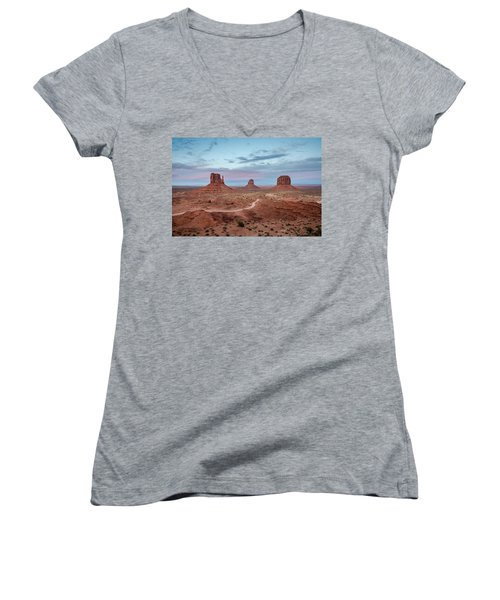Sunset At Monument Valley No.1 Women's V-Neck (Athletic Fit)