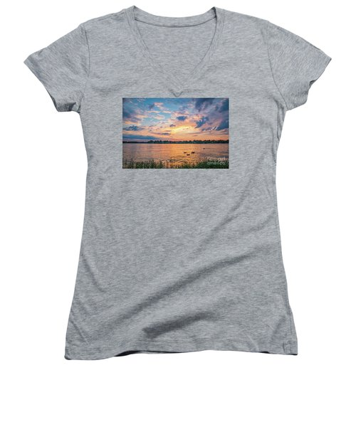 Sunset At Morse Lake Women's V-Neck (Athletic Fit)