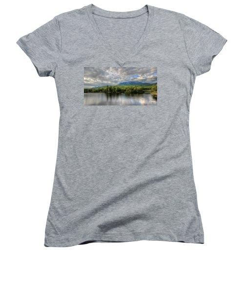 Sunset At Mt. Katahdin Women's V-Neck T-Shirt