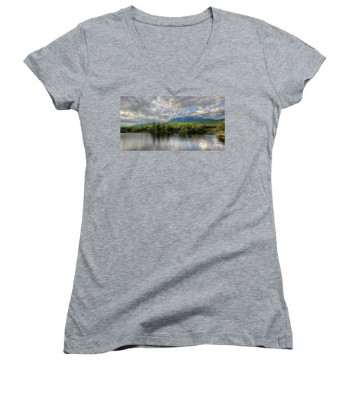 Sunset At Mt. Katahdin Women's V-Neck (Athletic Fit)