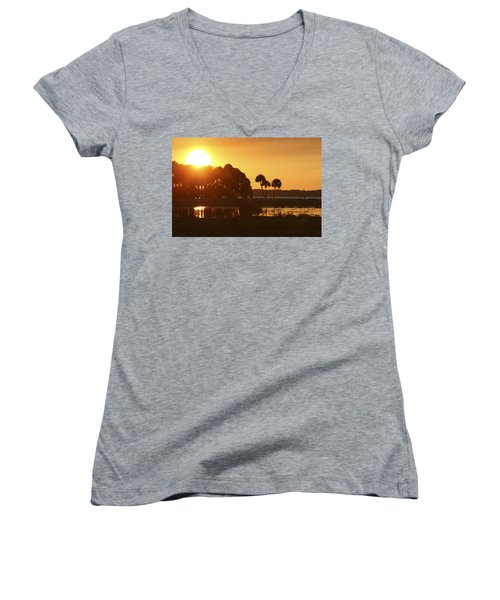 Sunset At Myakka River State Park In Florida, Usa Women's V-Neck (Athletic Fit)