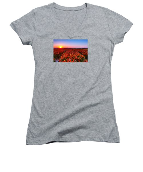 Sunset At Nuriot Field Women's V-Neck (Athletic Fit)