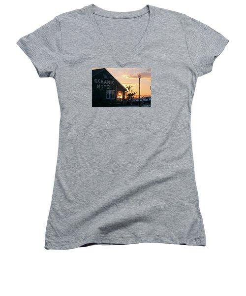 Sunset At Oceanic Motel Women's V-Neck T-Shirt (Junior Cut) by Robert Banach