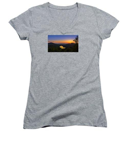 Sunset At Owls Head Women's V-Neck T-Shirt (Junior Cut) by Tim Kirchoff