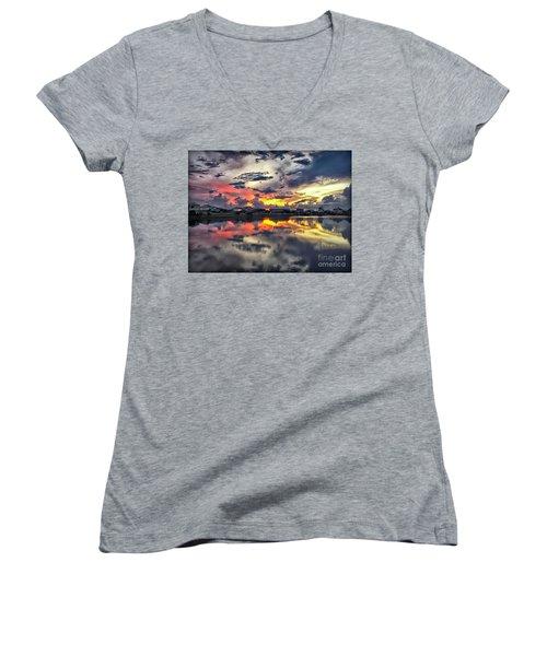 Sunset At Oyster Lake Women's V-Neck T-Shirt (Junior Cut) by Walt Foegelle
