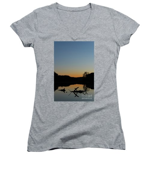 Sunset At Paulinskill Lake Women's V-Neck (Athletic Fit)