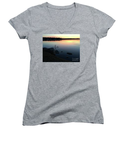 Sunset At Pentwater Lake Women's V-Neck